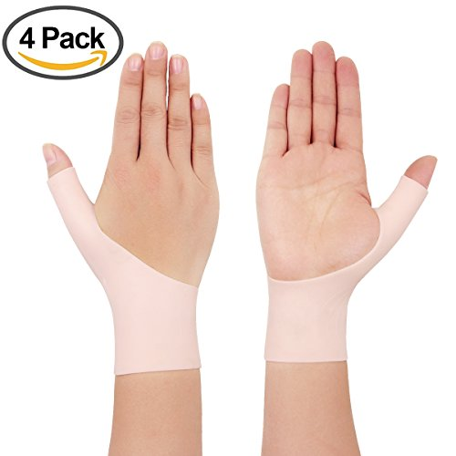 4 Piece Gel thumb brace Wrist Support Braces for Right & Lift Hand Relieve Wrist & Thumb Pain For Arthritis, Rheumatism, Carpal Tunnel, Tendinitis&More(2 Pair Nude color)