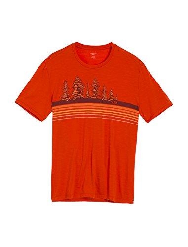 Icebreaker Men's Tech Lite Short Sleeve Crewe Tree Line Tee, Molten, Small - Ice Breaker Wool Shirt