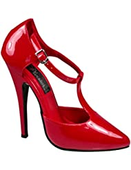 Summitfashions 6 Inch Sexy High Heel Shoe T-Strap DOrasay Style Pump Red Patent