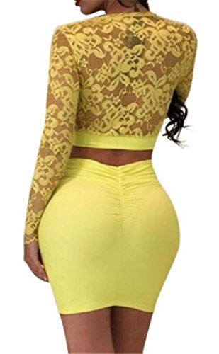 Womens Sleeve Through Cromoncent Dress Yellow Lace Mini Bodycon Cut See Low Set Outfit Long RwaBq1d