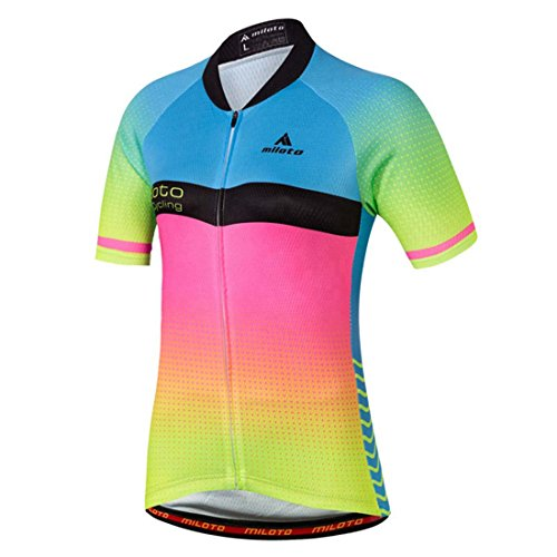 BIYINGEE Women's Cycling Jersey Short Sleeve with Reflective Stripe Dream Blue Size L(CN) (Cycling Jersey 3 Feet)