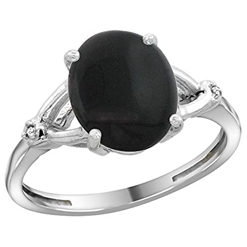 Sterling Silver Diamond Natural Black Onyx Ring Oval 10x8mm, 3/8 inch wide, size 7 (Oval Cut Black Onyx Ring)