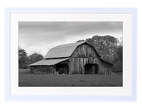 An Old Barn - Art Print White Wood Framed Wall Picture Black and White