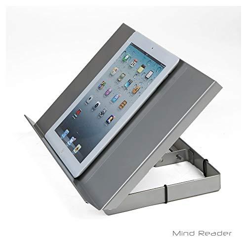 Mind Reader Adjustable and Portable Reading, Book, Tablet, iPad Stand Metal Resting Document Holder Easel, Black,