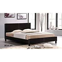 Faux Leather Upholstered Platform Bed - ESPRESSO (60 x 80)