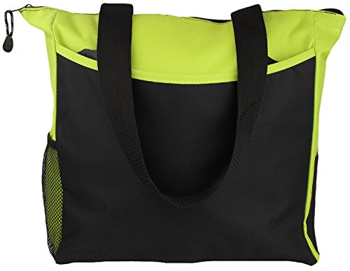 Tote Bag 17 Inches Travel Shopping Business Handle Carrier by MakExpress (Lime Green)