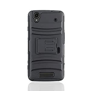 IMAX Hybrid Heavy Duty Rugged Holster Combo Hard Stand Case Cover for ZTE Max N9520 (Black + Black)
