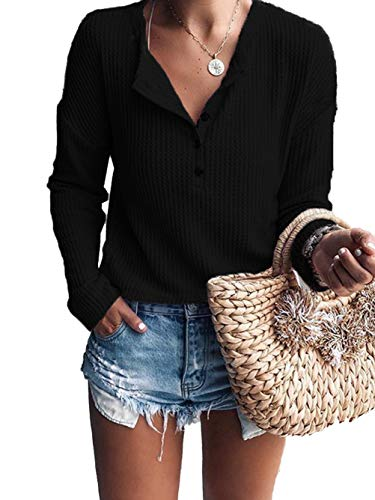 e Long Sleeve V Neck Button Down T Shirts Solid Waffle Knit Tunic Casual Tops Black M ()