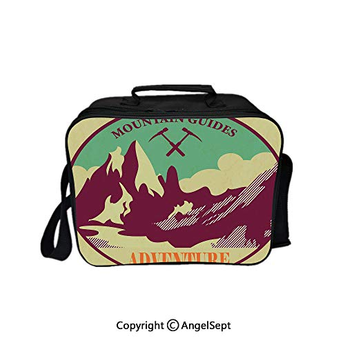 Trekking Hand Art - Lunch Box Carry Case Handbags,Journey Mountain Guides Trekking Climbing Camps Tourism Vivid Colorful Art Print Multicolor 8.3inch,With Zipper For Adults Kids Teachers Workers