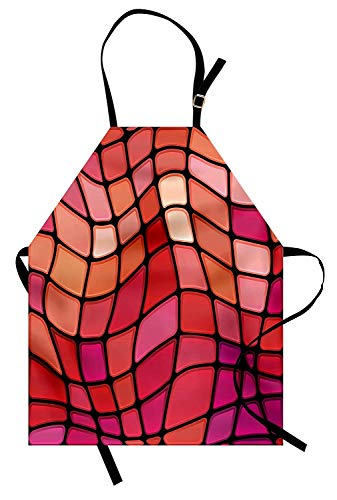 Miss Sweetheart Abstract Apron, Fractal Wavy Mosaic Backdrop Vitray Style Fragment Square Geometric Print, Funny Kitchen Aprons Men Women Kids High Waist Apron, Magenta Red Scarlet