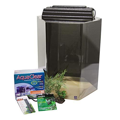 SeaClear 15 Gallon Hexagon Acrylic Aquarium Junior Exective Kit, Black; 15