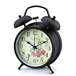 Konigswerk Loud Alarm Clock for Heavy Sleeper Twin Bell Clock Night Light Battery Operated (Black Case - Roses)
