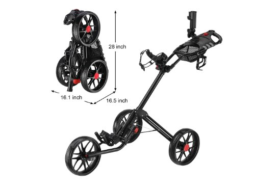 CaddyLite 15.3 Quad-Fold Golf Push Cart Black