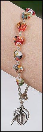 1pc Murano Heart Rosary Bracelet (Murano Bracelet Rosary)