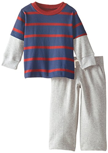 Gerber Graduates Baby Boys' Red Striped Long Sleeve Top and Grey Pant Set, Red Stripe, 18 (Graduate Stripe)