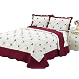 King Quilt 3 pc Bedding Bed set / Bedspread / embroidered / 2 pillow sham, Burgundy