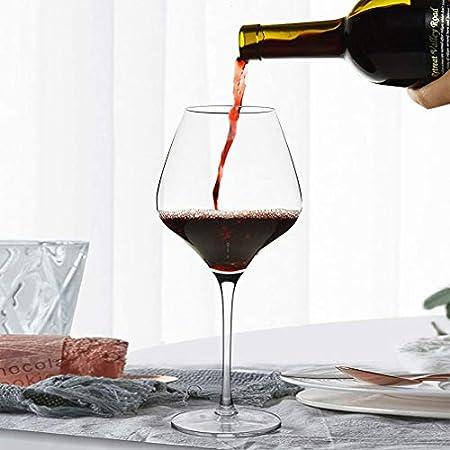 Copas de vino tinto grande Conjunto de 2 - vidrio cristalino sin plomo, copas de vino de Borgoña 25 oz, copa de vino grande, copas de vino de tallo largo para fiestas, aniversarios, navidad, etc.
