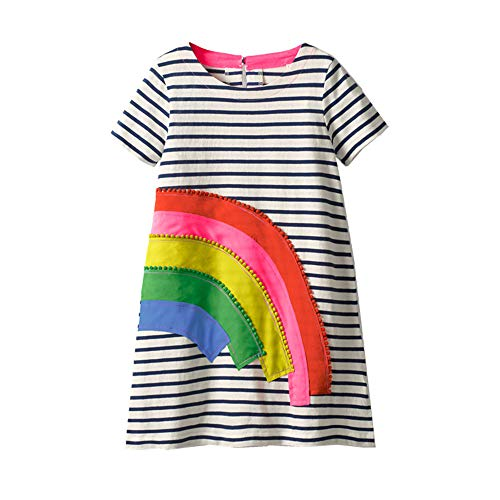 Little Toddler Girls Summer Dresses Short Sleeve Stripe Rainbow Cotton Casual Tunic Shirt Dress ()
