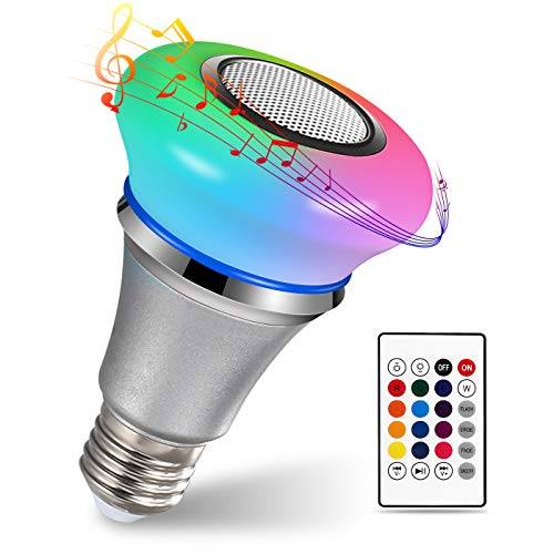 Homeasy Bluetooth Light Bulb Speaker, 6W E27 White RGB Changing Smart LED Lamp Wireless Stereo Audio with 24 Keys Remote Control