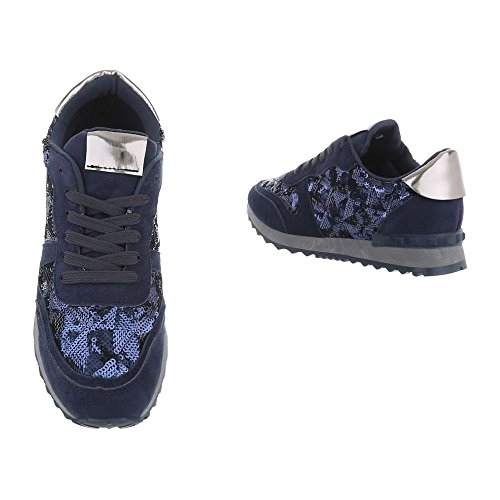 Bleu Design Fonc Sneaker Piatto Scarpe da Sneakers Low Donna Ital S8w1TZdqx