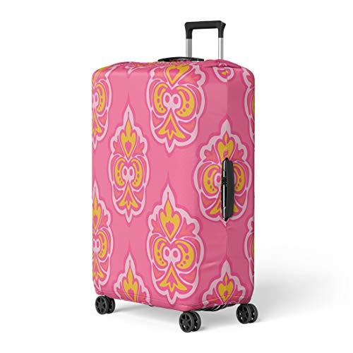 Pinbeam Luggage Cover Pink Abstract Cute Floral Damask Pattern Elegant Luxury Travel Suitcase Cover Protector Baggage Case Fits 22-24 inches