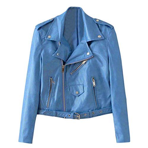 Faux SMALLE Women Cool HARRYSTORE Biker Women Style Blue Jacket Racing Leather w6BqnI5