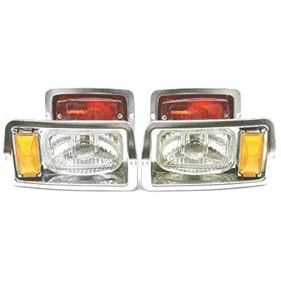 "GOLF CART CLUB CAR DS HEADLIGHT (7""x4"") AND TAILLIGHT KIT CHROME BEZELS: Automotive"