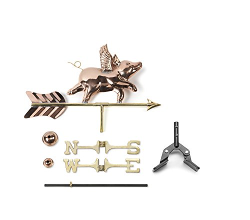 Good Directions 8840PR Flying Pig Cottage Weathervane, Polished Copper with Roof Mount by Good Directions (Image #1)