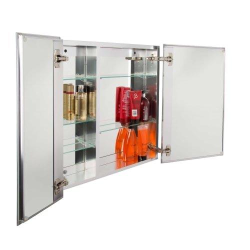 Jacuzzi PD49000 26'' H x 24'' W x 5-1/4'' D Double Door Medicine Cabinet, Silver Aluminum