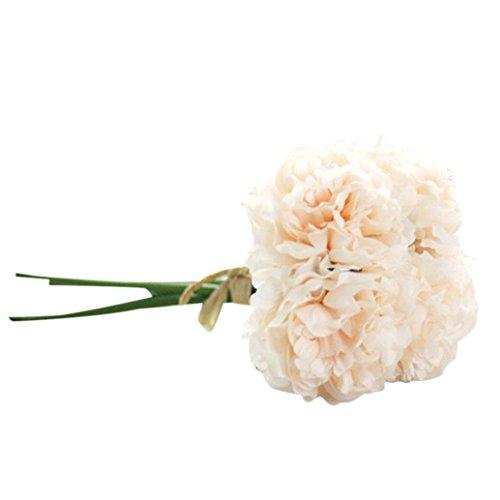 Artificial Silk Fake Flowers Peony Floral Wedding Bouquet Bridal Hydrangea (Champagne Peach)