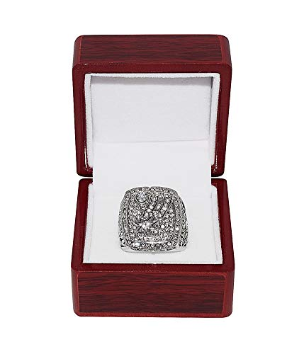(SAN ANTONIO SPURS (Tim Duncan) 2014 NBA FINALS WORLD CHAMPIONS Rare Collectible High-Quality Replica NBA Basketball Silver Championship Ring with Cherrywood Display Box)