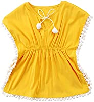 Douhoow Toddler Baby Girls Swim Cover-up Beach Sundress Summer Poncho Rash Guards (Yellow, 4~5T)