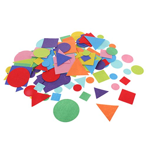150 Pieces Mixed Felt Flowers/Geometric Shapes Fabric Embellishments Applique for DIY Crafts Scrapbooking Sewing Handcraft Accessories, Assorted Colors,2.5-7cm - Geometric