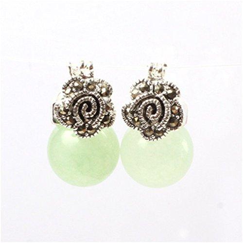 GEM-inside 12mm Round Light Green Jade Beads Tibetan Silver Marcasite Flower Earrings (12mm Green Jade Earring)