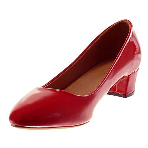 on Slip Slip Cm Decollete 4 donna Rosso Alta Angkorly Patent Heel on Scarpe Larghezza Moda qXwgUBA