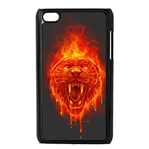 iPod Touch 4 Case Black Flaming Cat HAZ Rhinestone Cell Phone Covers