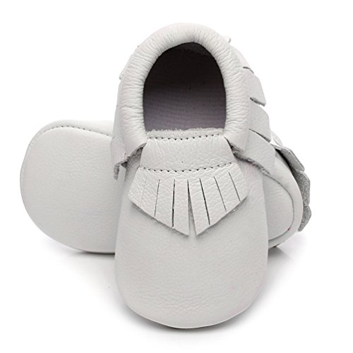 HONGTEYA Soft Sole Baby Moccasins - Premium Fringe Bow Leather Boys and Girls Shoes for Infant Toddlers (0-3 Months/US 3/4.13''/See Size Chart, Fringe-White) ()