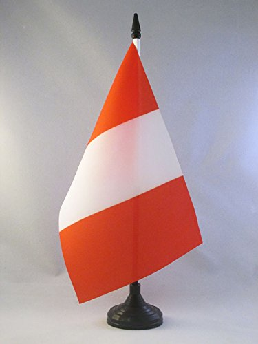 AZ FLAG Peru Without arms Table Flag 5'' x 8'' - Peruan Civil Desk Flag 21 x 14 cm - Black Plastic Stick and Base