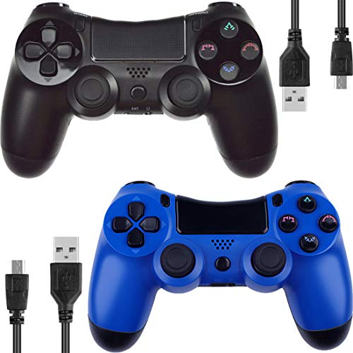 Kogoda Wireless Bluetooth Controllers Joystick Gamepad for PS4 Playstation 4 Double Shock - Bundled with USB Charge Cord (Black and Blue1)