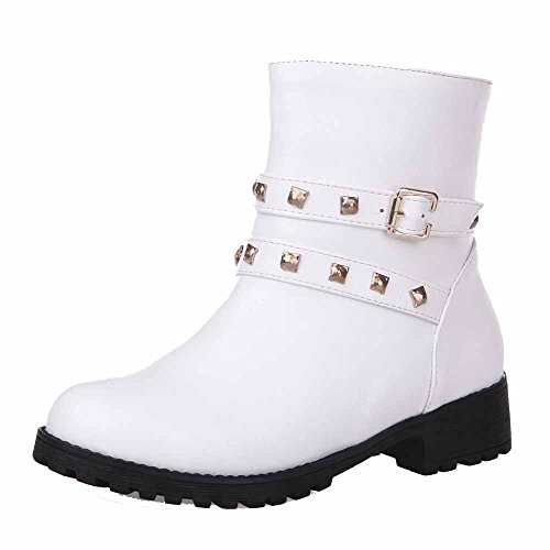 AgooLar Women's Low-top Solid Zipper Round Closed Toe Low-Heels Boots White LHGPu