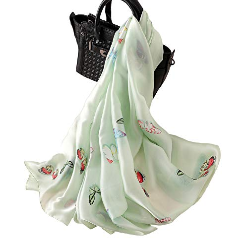 100% Silk Light - 100% Silk Scarf - Women's Fashion Large Sunscreen Shawls Wraps - Lightweight Floral Pattern Satin for Headscarf&Neck (Butterfly-Light green)