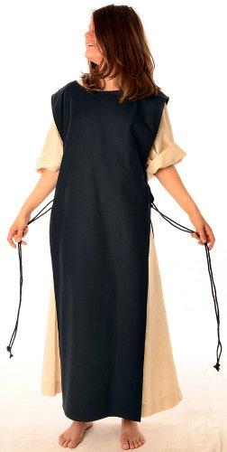 mit Leinenstruktur Damen Schwarz mit HEMAD XL Beige reine S naturbeige Kleid Mittelalter Skapulier Baumwolle HPdxvg