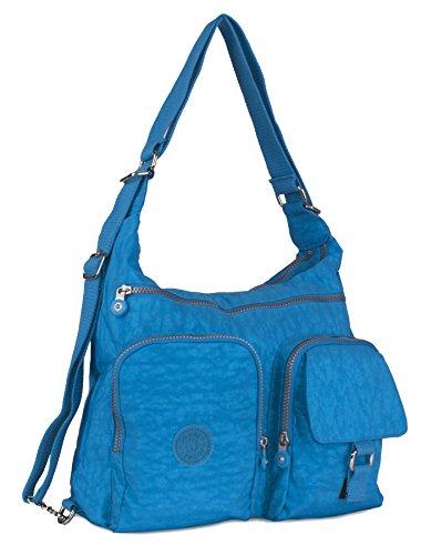 Big Handbag Shop Rainproof Fabric Zip Pockets Convertible Backpack Cross Body Messenger Shoulder Bag Sky Blue