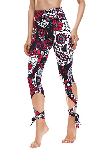 (Abby Berny Womens Sugar Skull Print Bandage Stretch Capri Leggings Red XL)