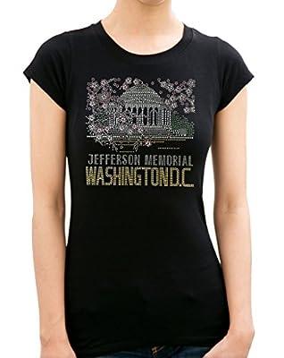 Cherry Blossom Jefferson Memorial Washington D.C. Rhinestone/ Stud Women's T shirts