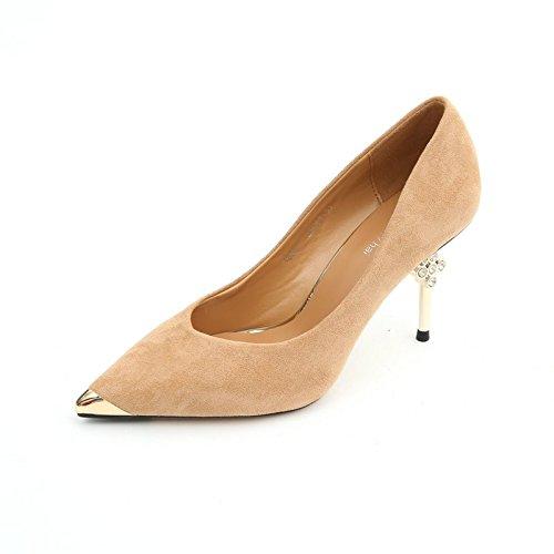 C YMFIE Tempérament de Luxe de Mode a souligné Les Talons Aiguilles Stiletto Bouche Peu Profonde Chaussures Simples Dames Chaussures de Travail 38 EU