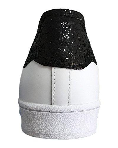 Bianco Basso Nero E Con Bianche Cono Superstar Borchie Glitter Oro qwHUFfnz