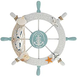 Rienar Nautical Beach Wooden Boat Ship Steering Wheel Fishing Net Shell Home Wall Decor White - Fish