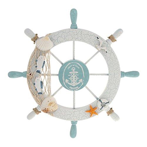 Rienar Nautical Beach Wooden Boat Ship Steering Wheel Fishing Net Shell Home  Wall Decor White   Fish
