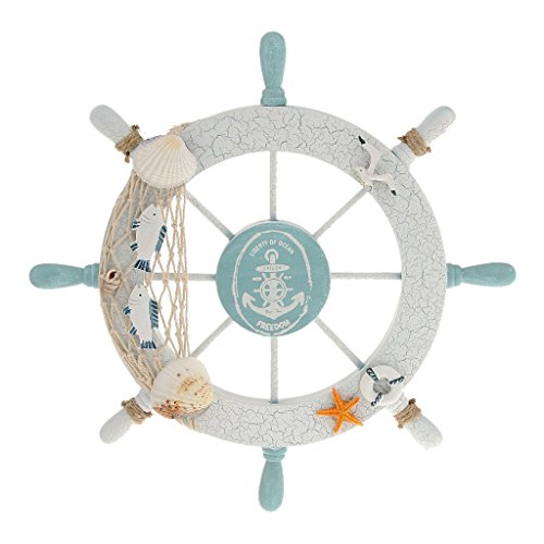 Rienar Nautical Beach Wooden Boat Ship Steering Wheel Fishing Net Shell Home Wall Decor White - -